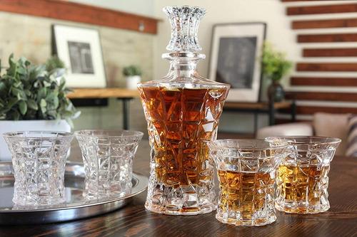 juego decantador diseño de cristal cortado con 4 vasos lp