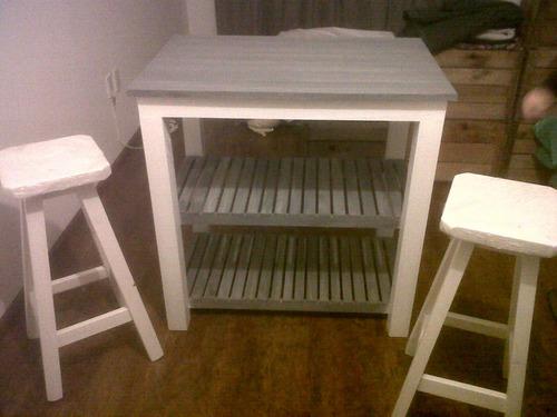 Juego desayunador mesa con bancos en madera maciza - Mesa con bancos ...