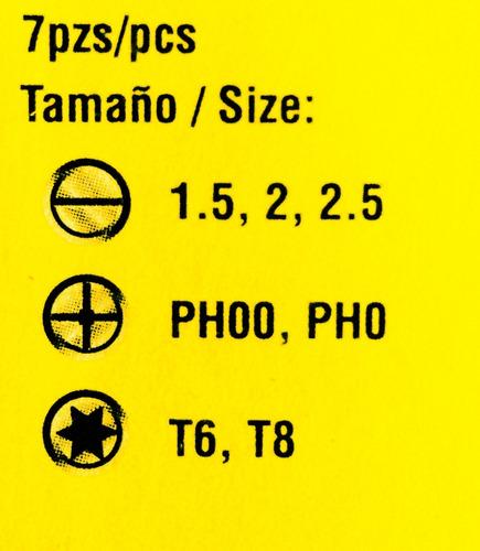 juego destornillador 7 puntas intercambiables security