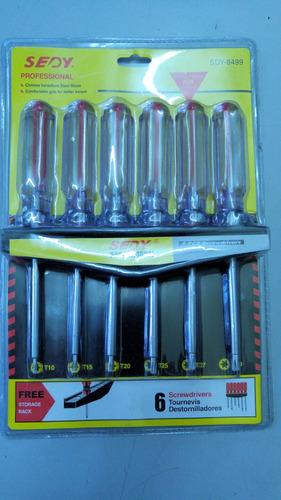 juego destornilladores torx 6 u. t10 t15 t20 t25 t27 t30
