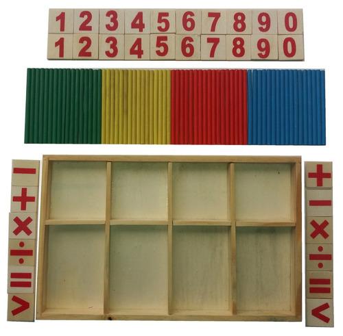 juego didáctico aprende los numeros en caja de madera