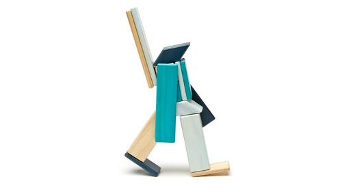 juego didáctico bloques de madera con iman azul 14 piezas