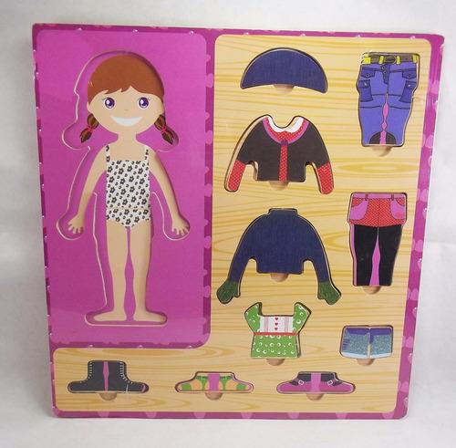 juego didáctico en madera - encastre para vestir a la nena