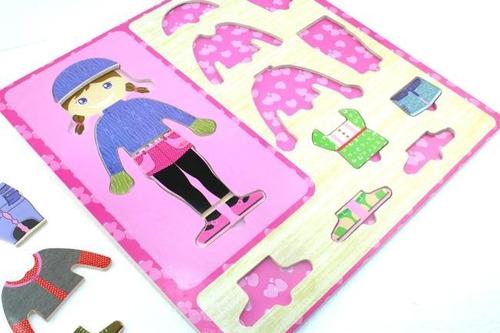 juego didáctico en madera - encastre  vestir a la nena puzle