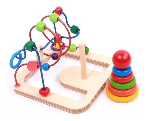 juego didáctico madera prono laberinto + torre de encastre