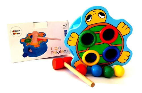 juego didactico pelotas con martillo descarga animal madera