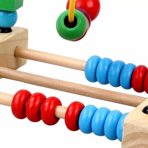 juego didactico prono madera ábaco contador vias arrastrre