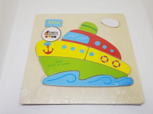 juego didáctico rompecabezas madera colores ingenio barco