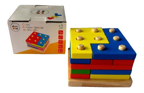 juego didáctico torre geometrica encastre madera colores