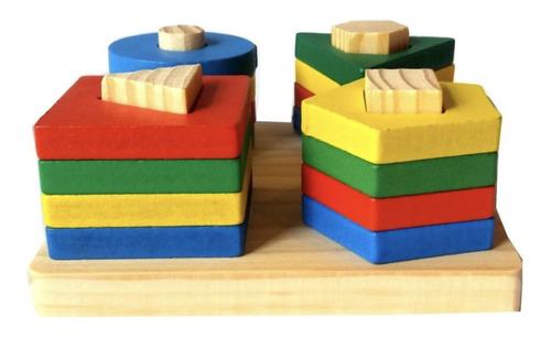 juego didáctico torre x4 madera colores bloques formas niños