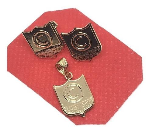 juego dije medalla y aretes topitos once caldas en oro joya