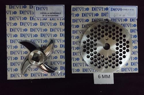 juego - disco 6 mm y cuchilla autoafilable picadora carne 32