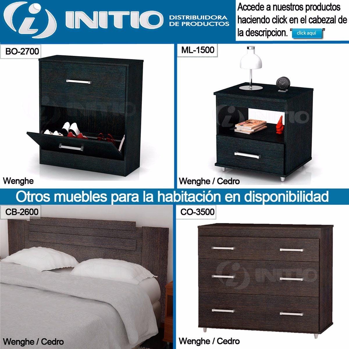 Juego Dormitorio Cabezal Cama + 2 Mesas Luz - Initio Muebles ...