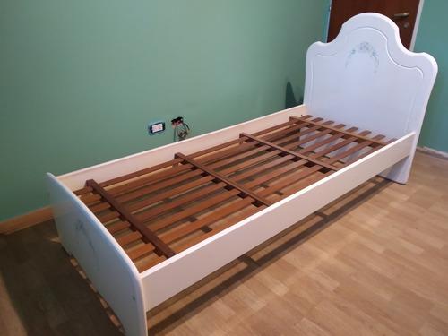 juego dormitorio cama y escritorio madera maciza laqueado
