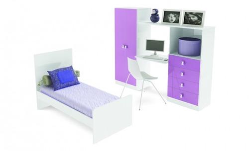 juego dormitorio jóvenes niños 1 plaza cama cajonera placar