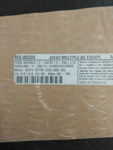 juego empacadura multiple de escape bronco/f150/100/ltd/350