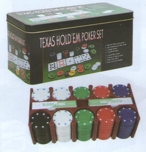 juego en caja fichas de poquer en lata con 2 mazos de cartas