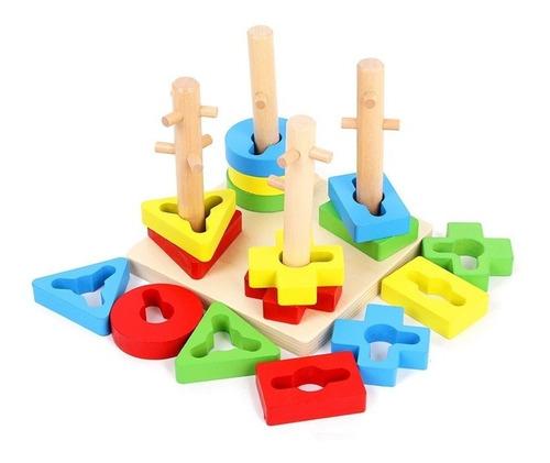juego encaje y dificultad madera didáctico apilador bloques