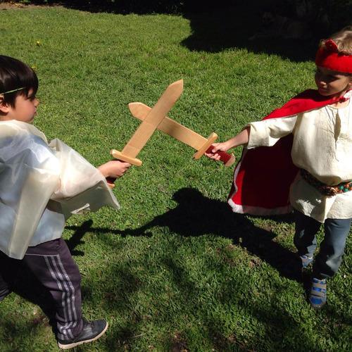 juego escudo y espada vikingo espartano juguete madera niños