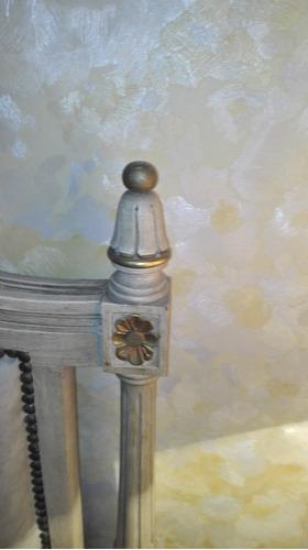 juego estilo luis xvi cama + 2 mesas de luz con marmol