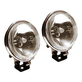 Juego Faro Iodo Off Road Redondo Ø90mm Universal Auxiliar Carcasa Metal Vidrio Cuatriciclos Motos Ambar Cristal C/lamp