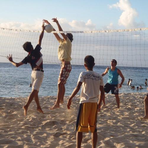 juego futbol tenis voley completo 6x3m p cesped playa jardin