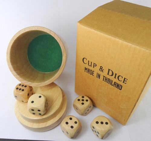juego generala cubilete 5 dados madera natural envio gratís