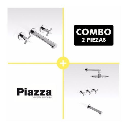 juego grifería baño piazza guilty cruz lavatorio pared ducha