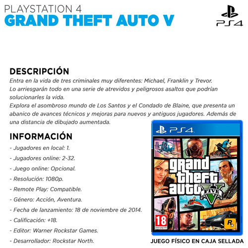 juego gta ps4 grand theft auto