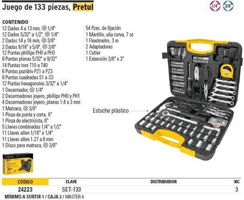 juego herramientas 133 pz pretul 24223