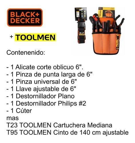 juego herramientas black decker 7 pzas mas toolmen t23 y t95