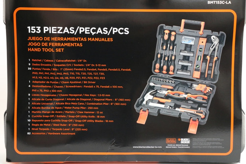 juego herramientas manuales black y decker 153 pza bmt153cla