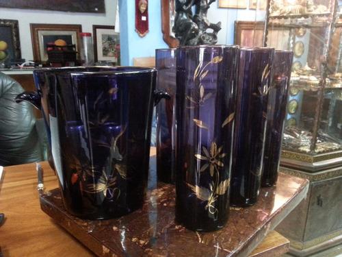 juego hielera y vasos frances en cristal morado