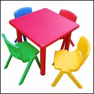Juego infantil mesa y 4 sillas para ni os plastico calidad for Medidas sillas ninos