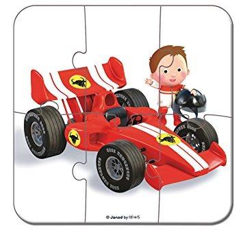 juego janod 4-en-1 de gabin fórmula 1 rompecabezas de coche