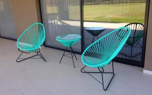 juego jardin acapulco 2 + mesa sillas sillon reposeras