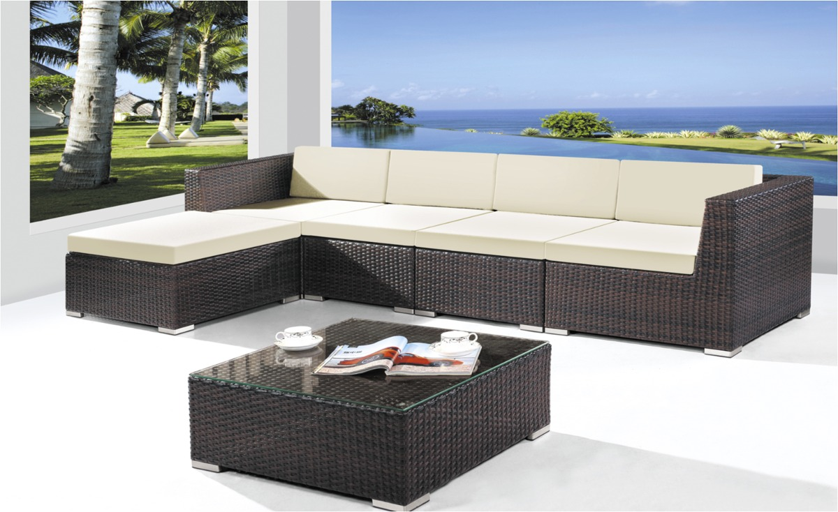 Juego Living Jardin Rattan Sint Tico Estructura Aluminio  # Muebles De Jardin Wicker