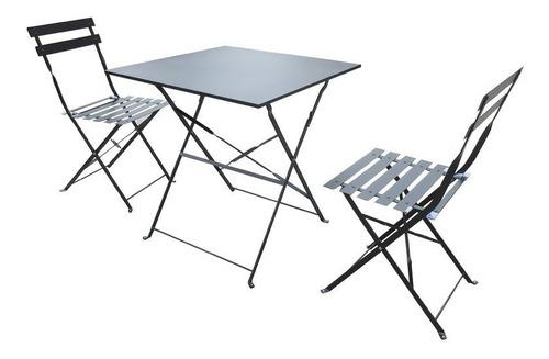 juego jardin balcon tracy mesa + 2 sillas plegables exterior