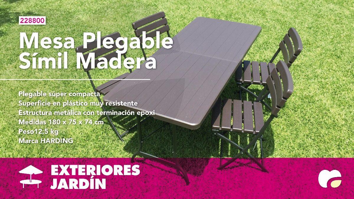Mesa Juego Plástico Jardín Madera Plegable6 Sillas Símil qSUMVzp