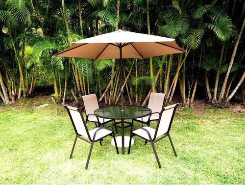 juego jardin (mesa,4 sillas,sombrilla y base ) color marrón