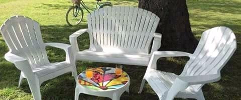 Juego Jardin Plastico Banco + Sillones + Mesa Garden Life ...