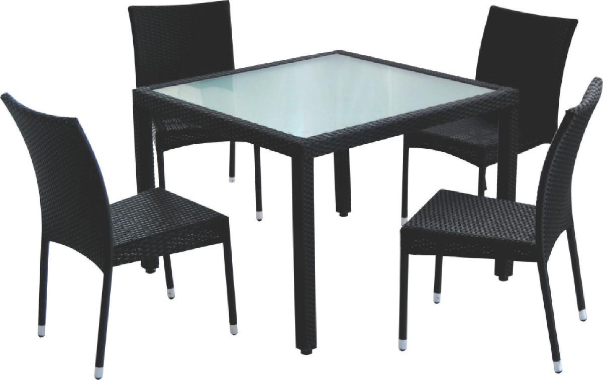Juego de jardin set rattan 4 sillas mesa sensacion 8 for Juego de jardin de ratan