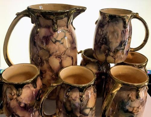 juego jarra vino cerveza 6 jarritos porcelana y oro años 50