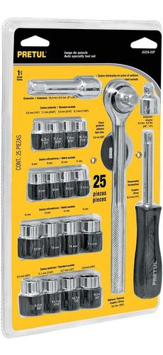 juego kit tubos bocallave 25 piezas pretul 1/4 y 3/8''