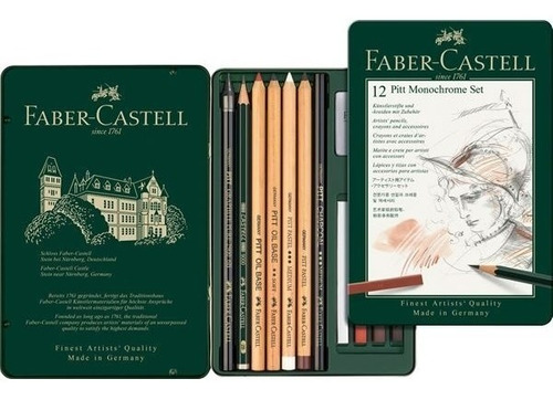 juego lápices pitt monochrome estuche x12 112975 faber caste