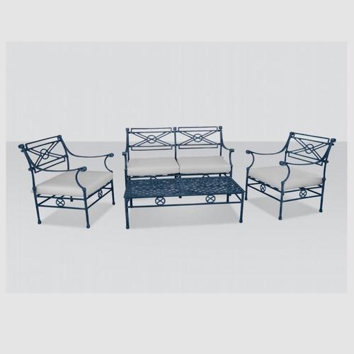 juego living fundicion de aluminio napoli 4 piezas almohadon
