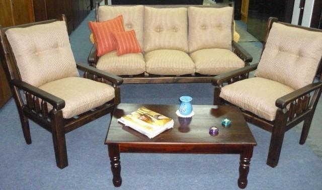 Juego living madera sillones sof s composse equipamientos en mercado libre - Financiar muebles sin nomina ...