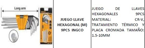 juego llave hexagonal (m) 9pcs ingco