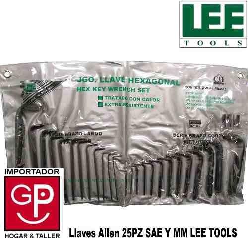 juego llaves allen 25 pz milimétrico y pulgada lee tools g p