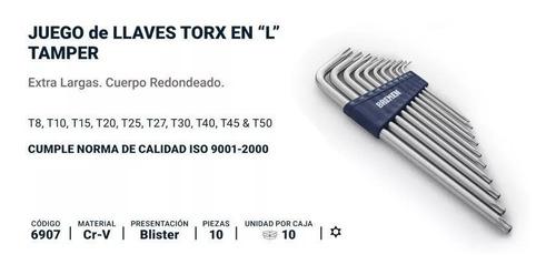juego llaves torx largas bremen® 10 pz t8 a t50 + guantes